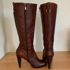 Banana Republic Brown Leather Heel Knee Boots
